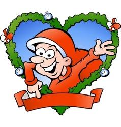 Hand-drawn of an happy santa boy vector image