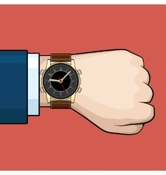 Businessman arm with hand watch vector
