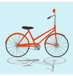 Orange bicycle on light blue background vector