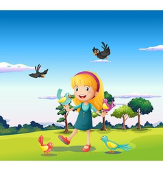 A girl surrounded by birds at the hill vector image