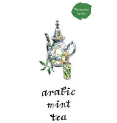 arabic mint teapot vector image
