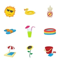Beach icons set cartoon style vector