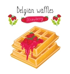 Belgian waffles with jam on white background vector image