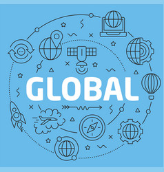 blue line flat circle global vector image vector image