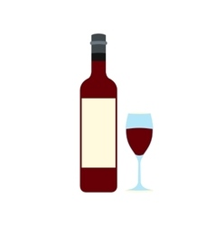 Bottle red wine and glass icon vector image