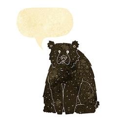 cartoon funny black bear with speech bubble vector image vector image
