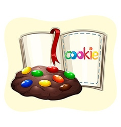 Chocolate cookie and a book vector image vector image
