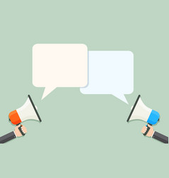 Flat style loudspeakers with speech bubbles vector