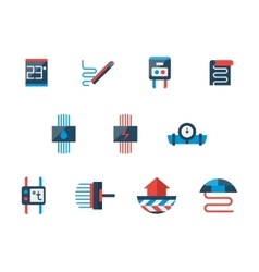 Floor heating technology flat icons set vector