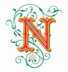 floral letter n vector image vector image