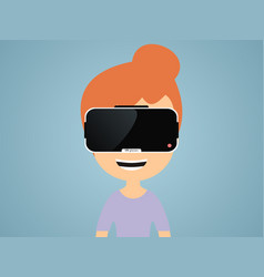 girl in virtual reality glasses vector image vector image