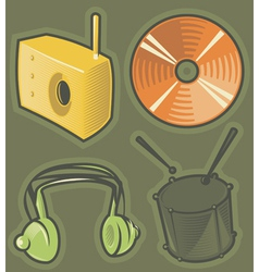 Green icons for music vector