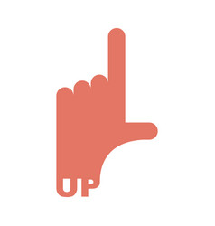 hand pointer up direction of route finger isolated vector image vector image