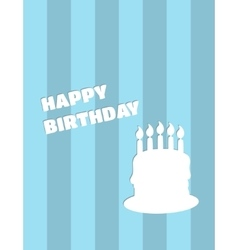 happy birthday card with cake on blue vector image vector image
