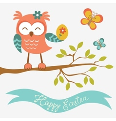 Happy easter owl sitting on a branch vector