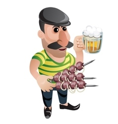 Man waiter in cap with kebab and beer Character vector image vector image