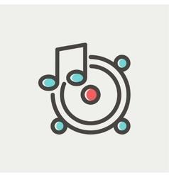 Music tambourine thin line icon vector