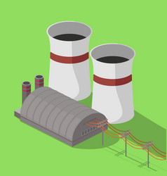 nuclear power plant isometric vector image