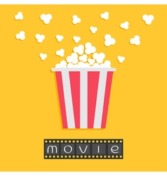 Popcorn Film strip Red yellow box Cinema movie vector image vector image