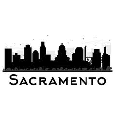 Sacramento City skyline black and white silhouette vector image vector image