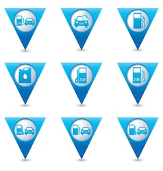 Set of 9 Transport BLUE triangular map pointer vector image