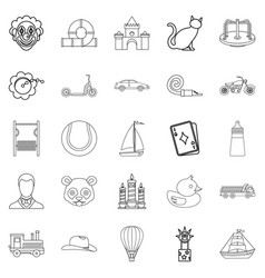 Tenderling icons set outline style vector