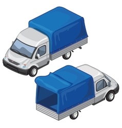 Van with blue tent for transport of goods vector image vector image