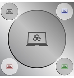 Setting parameters laptop icon vector