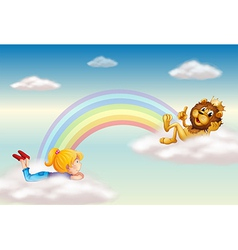 A girl and a king lion across the rainbow vector