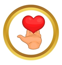 Hand giving red heart icon vector