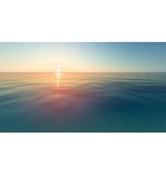 Realistic sunset and sea water vector