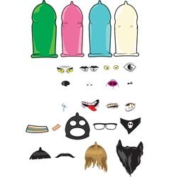 Create your own condoms character kit vector
