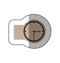 contour emblem sticker clock icon vector image