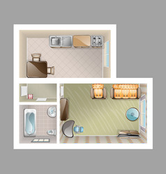 Top view apartment interior vector
