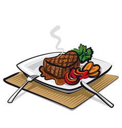 Hot beef steak vector