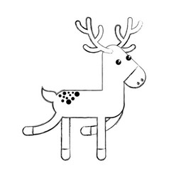 Cute reindeer christmas icon vector