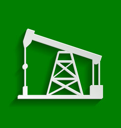 Oil drilling rig sign  paper whitish icon vector