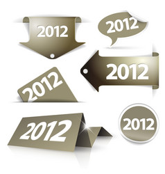 Golden 2012 labels stickers pointers vector