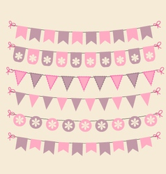 Retro bunting set patel pink scrapbook design vector