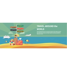 Icons set of traveling and planning vacation vector image