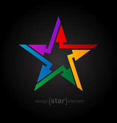 Abstract rainbow star design element with arrows vector