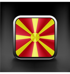 Raster version flag of macedonia glossy icon vector