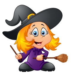 Cartoon young witch vector