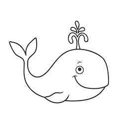 Happy cartoon whale vector