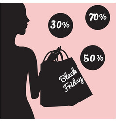Black friday sale banner with fashionable woman vector