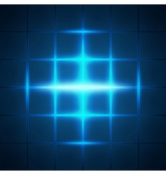 Blue glowing grid squares abstract background vector