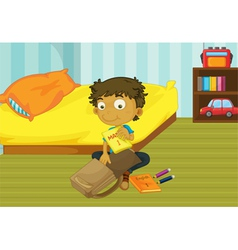 Boy packing his bag vector image vector image