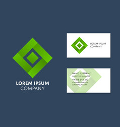 business card template with green square logo vector image vector image