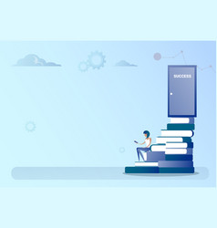 Business man sit books stack stairs to success vector