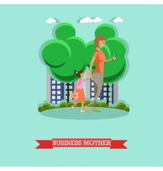 Business mother and gadgets concept vector